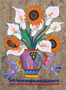 esto es una pintura de estilo mexicana. esto se parece a un florero con flores hermosas. es muy creativo. es también moderno