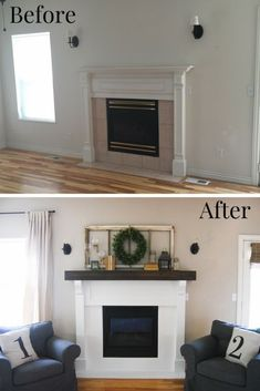 DIY Fireplace Makeover Before and After. Upgrade your builder grade fireplace with a chunky farmhouse mantel and character. DIY Fireplace Makeover Before and After. Upgrade your builder grade fireplace with a chunky farmhouse mantel and character. Home Fireplace, Fireplace Remodel, Fireplace Design, Paint Fireplace Tile, Painted Fireplace Mantels, Fireplace Ideas, Fireplace Diy Makeover, Fireplace Update, Mantles