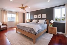 Natural Grey Wall Decoration and Classic Oak Bed Furniture in Modern Bedroom Interior Designs