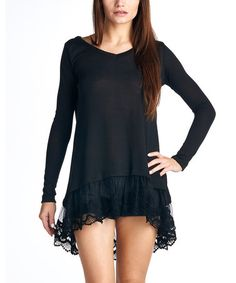 Loving this Black Lace Asymmetrical Tunic on #zulily! #zulilyfinds