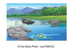 Vector Clip Art of beautiful landscape in the lake cartoon ...