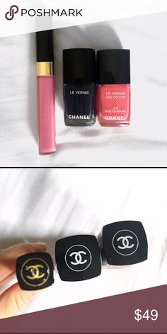 Chanel cosmetics bundle Never used Chanel cosmetics bundle: 1 lipgloss in color 03/glaze, 2 nail polishes in colors: rose exuberant and mariniere, no trades CHANEL Makeup