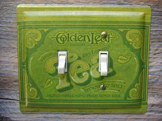 Light Switch Plate Unique Lighting Made From A Vintage Ballonoff Golden Tea  Tin Canister Lightswitch Cover Switchplates SP0053