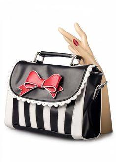 Girly Black White Striped Red Bow handbag shoulder bag