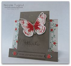single stair step card tutorial featuring butterfly from Watercolor Wings. Hand Made Greeting Cards, Making Greeting Cards, Fancy Fold Cards, Folded Cards, Center Step Cards, Side Step Card, Scrapbooking, Stampin Up Catalog, Card Tutorials