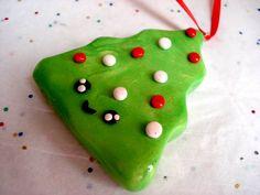 Christmas Tree Ornament Polymer Clay Kawaii by MagicalMeGifties, $13.99