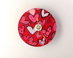 Valentine Upcycled CD Clock FREE US Shipping by AllAboutTheButtons