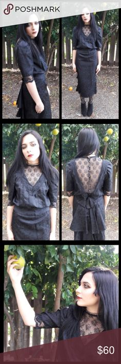 Stunning! Vintage lace 80's Victorian style dress! This dress is fabulous! Size small. Measurements upon request but fits model perfect and she is a size 2. Gorgeous lace detail in front and back. Shiny buttons with ruffle detail going down skirt. Very goth. Would make a gorgeous wedding dress! Vintage Dresses Midi