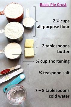 basic pie crust / apple pie recipe { if I ever get brave enough to try making homemade pie crust for chicken pot pie . } I think homemade pie crust may be better than store bought in the chicken pot pie Homemade Pie Crusts, Pie Crust Recipes, Apple Pie Recipes, Sweet Recipes, Easy Pie Crust, Bisquick Pie Crust, Homemade Pies, Just Desserts, Delicious Desserts