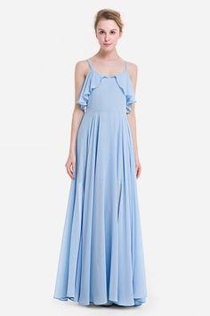Bohemian Chiffon Ruffle Maxi Dress - Windsor Blue 3XL