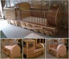 What little one wouldn't love their own train bed? DIY practical and decorative train bed --> http://wonderfuldiy.com/wonderful-diy-amazing-baby-train-bed/