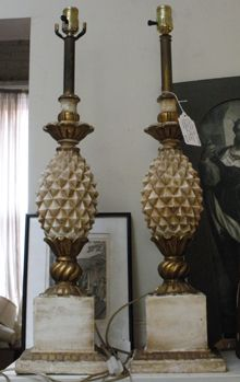 One of my favorite shops to visit in Washington DC is Finials - a great antique shop. You never know what you'll find there - like this pair of vintage Italian wood pineapple lamps.
