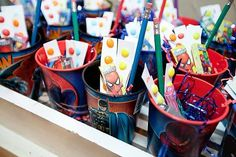 superhero party favors - easy and the boys would love www.spaceshipsandlaserbeams.com