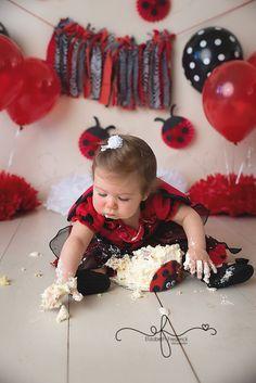 YEAH BABY, IT`S MY LADYBUG SMASHCAKE Ladybug Smash Cakes, Cake Smash, Personalized Balloons, Ladybug Party, Cake Decorating, Etsy Seller, Banner, Flower Girl Dresses, Birthday Parties