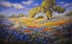 "texas hill country bluebonnets watercolor prints | ... Blue Horizon"" Painting of the Texas Hill Country ©2011 Niki Gulley"