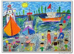 Wharf - 2nd grader.  8 years old, girl.    Watercolors , oil pastels on paper.