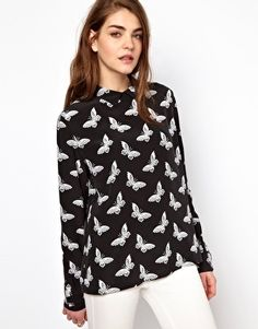 Equipment Grace Button Back Blouse in Butterfly Print Silk from asos.com