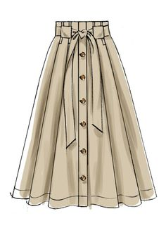 Misses' Belted and Button-Front Skirts Very full pleated skirts are worn above the waist and have button front front and back facings deep hem and length and carrier variations. A C: Narrow carriers for purchased belt. D: Wide carriers and self tie belt. Dress Design Drawing, Dress Design Sketches, Fashion Design Sketchbook, Fashion Illustration Sketches, Illustration Mode, Fashion Design Drawings, Dress Drawing, Fashion Sketches, Design Illustrations