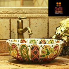 3Colors, Vintage Style Ceramic Round Bathroom Sink Bathroom Basin - ICON2 Luxury Designer Fixures  3Colors, #Vintage #Style #Ceramic #Round #Bathroom #Sink #Bathroom #Basin
