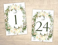 Rose Garden Printable Table Numbers design No. 202 - digital floral table numbers 1 - 24 for wedding, bridal shower, baby shower DIY https://etsy.me/2qwVddz