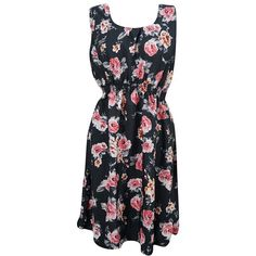 Mogul Womens Black Dress Floral Prints Elastic Waist SunDress M ($18) ❤ liked on Polyvore featuring dresses, flower pattern dress, flower design dresses, floral print sundress, flower print dress and flower printed dress