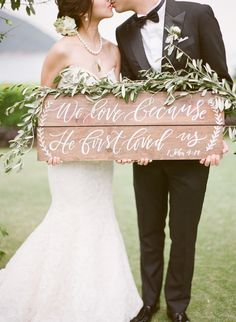 This Wedding Perfectly Embodies Timeless Romance Wooden wedding sign: www.stylemepretty… Photography: Hilary Chan – www. Wedding Ceremony Ideas, Wedding Themes, Wedding Decorations, Wedding Dresses, Wedding Signage, Wedding Banners, Wedding Rentals, Reception, Chic Wedding