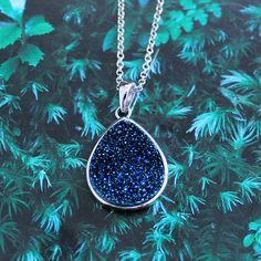 "Sterling Silver & Pear Sgaped Dark Blue Druzy Gemstone 18"" Necklace"