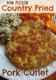 Man Pleasin' Country Fried Pork Cutlets - can't wait to try these! Pork Cutlet Recipes, Cutlets Recipes, Pork Chop Recipes, Meat Recipes, Cooking Recipes, Pork Meals, Pork Cutlets Crockpot, Dinner Recipes, Gastronomia
