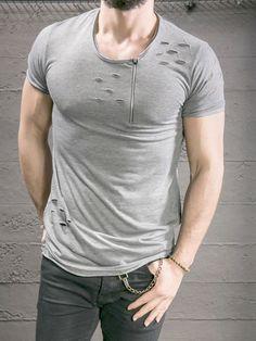 K&B Men Perforated Zip Big Neck T-shirt - Gray