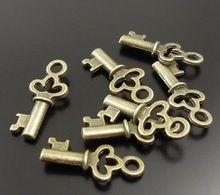 Free Shipping Fashion 200 pcs Antique Bronze Alloy Vintage Key Charm Pendant DIY Metal Jewelry 13*8 mm S2168(China (Mainland))