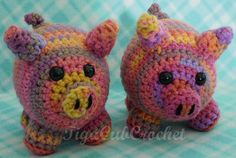 Cute Crochet Medium Pink Multicolored Pig by TigaCubCrochet