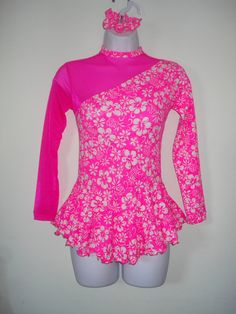 Girl's Large Figure Skating Dress Pink & White by SeamsByTeri, $80.00