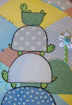 DIY art using paint and collaged fabric