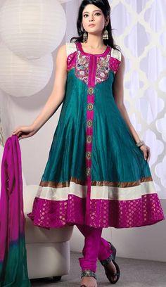 $113.5 Blue Sleeveless Chanderi Silk and Brocade Long Anarkali Salwar Kameez 21376