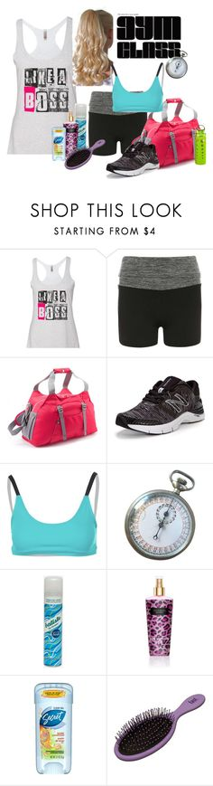 """Not your mom's gym class."" by stephaniefb ❤ liked on Polyvore featuring Dorothy Perkins, REI, New Balance, Onzie, Batiste, Victoria's Secret, Secret and Artland"