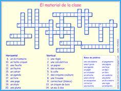 Me encanta escribir en español: El material de la clase (Crucigrama)