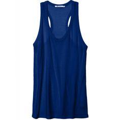 T Alexander Wang Slub Classic Tank In Indigo ($82) ❤ liked on Polyvore featuring tops, shirts, tank tops, tanks, no sleeve shirt, blue tank top, blue shirt, sleeve less shirts and sleeveless tops
