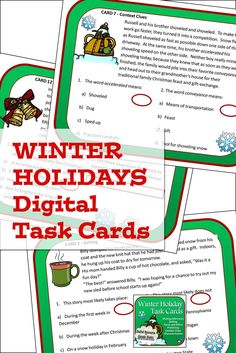 Reading task cards for Christmas and all of the other holidays kids love to celebrate during this holiday season. This is the Google slides version, and it also includes the printable version as well, for students in grades 4, 5, 6,ane 7. Close Reading Activities, Reading Task Cards, Teaching Reading, Holidays With Kids, Winter Holidays, Christmas Language Arts, Context Clues, Reading Skills, Upper Elementary