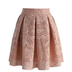 Chicwish Lacey Garden Pleated A-line Skirt in Nude ($36) ❤ liked on Polyvore featuring skirts, beige, a line skirt, floral a line skirt, pleated skirt, knee length pleated skirt and flower print skirt