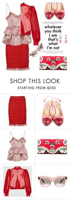 """""""Cherry pop"""" by pensivepeacock ❤ liked on Polyvore featuring Givenchy, Chanel, VIVETTA, Valentino, Gucci, CÉLINE and Rebecca de Ravenel"""