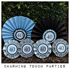 40th Birthday Party decorations Decorative Rosettespaper fans