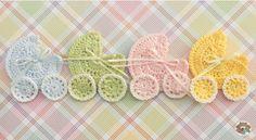 Crochet applique carrinho de bebê
