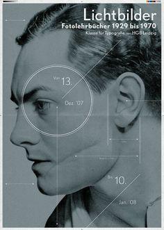 LICHTBILDER — Fotolehrbücher 1929 bis 1970 Exhibition poster, Typography class / Prof. G. Bose, Academy of Visual Arts Leipzig (HGB) by Christian Lange
