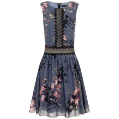 **Little Mistress Grey Floral Lace Skater Dress (150 AUD) ❤ liked on Polyvore featuring dresses, grey, flower print dress, skater dress, grey dress, gray floral dress and reversible dress