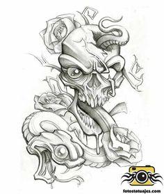 Snake and Skull by stephcand Body Art Tattoos, Skull Artwork, Badass Drawings, Tattoo Lettering Fonts, New School Tattoo, Tattoo Stencils, Graffiti Drawing, Dark Art Drawings, Skulls Drawing