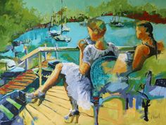 'At Dunbogan boatshed' by Vanessa Newell, acrylic on canvas, 120 x 90cm. #acrylicpainting #contemporarypainting #figurativepainting #caféart #riverscape #Dunbogan