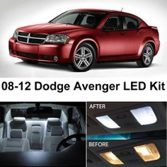 SAVE $5.5 - #Dodge Avenger 2008-2012 Xenon White Premium LED Interior Lights Package Kit (10 Pieces) $27.99