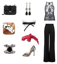 """Black and white"" by gloria-yi-qiao on Polyvore featuring Haider Ackermann, Roksanda, Forest of Chintz, Fallon, Oscar de la Renta, Jimmy Choo, Valentino and Elizabeth Arden"
