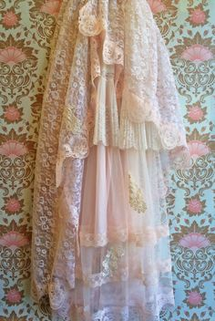 whisper pink off white applique lace & tulle by mermaidmisskristin