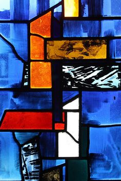 John Piper stained glass in Nuffield College Chapel.